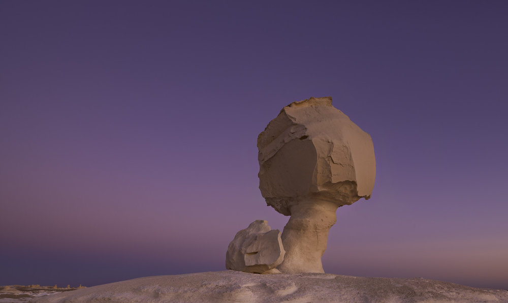 The chicken rock formation at the white desert Egypt