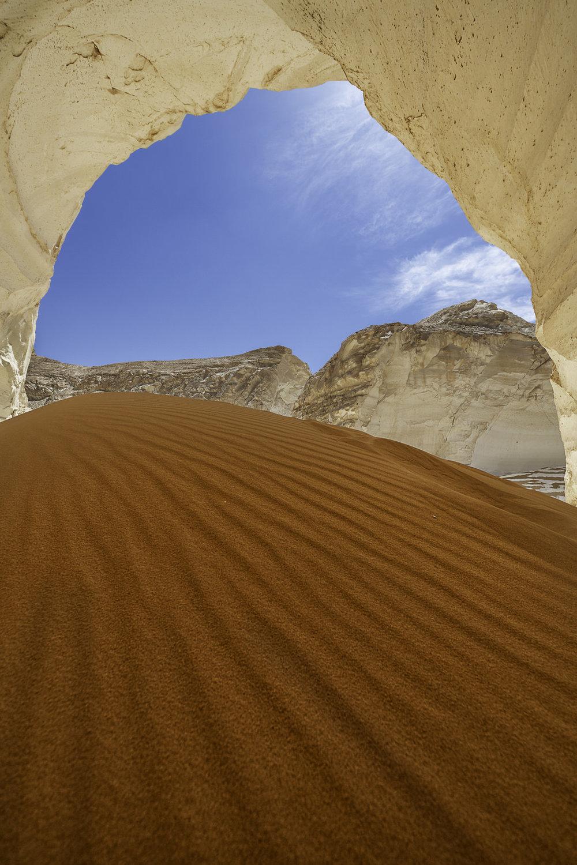 Sand dunes caves at the Egyptian desert