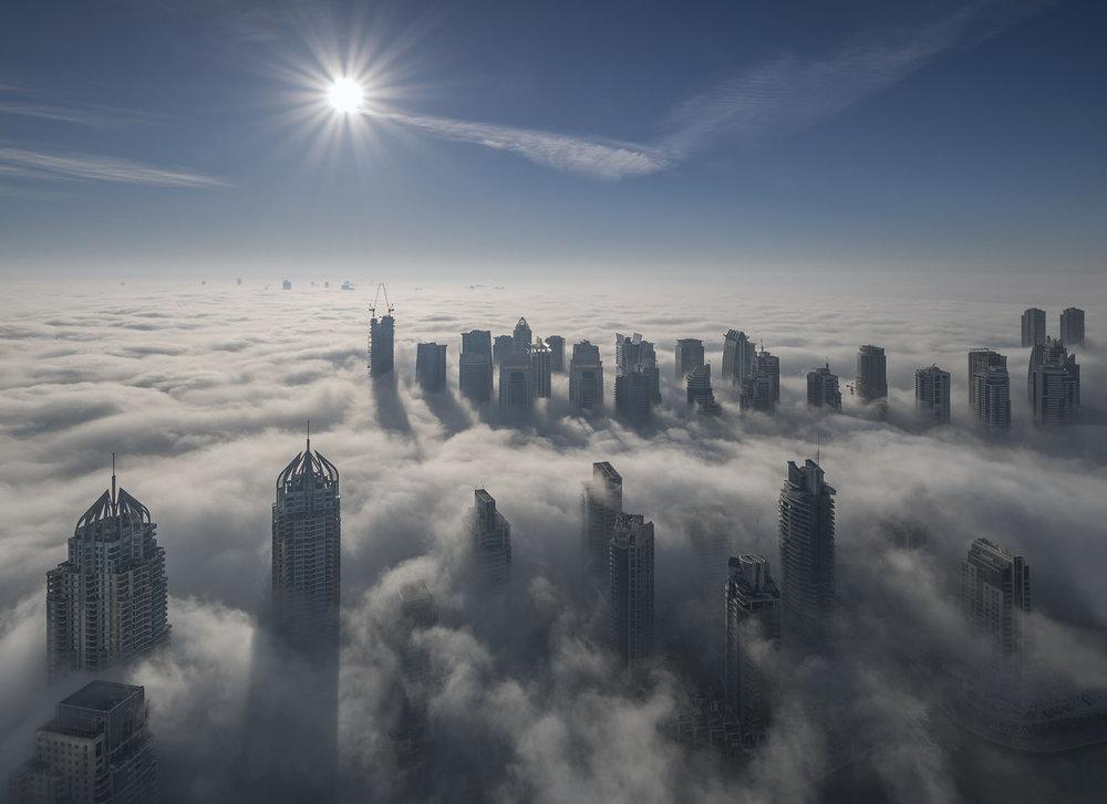 Dubai with fog blanket