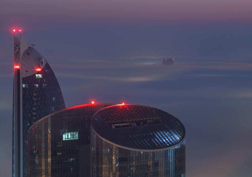 Dubai Skyscaper's during fog season