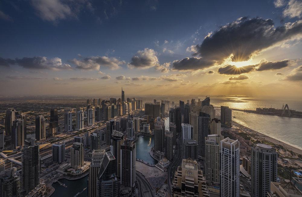 Cayan tower view over Dubai marina