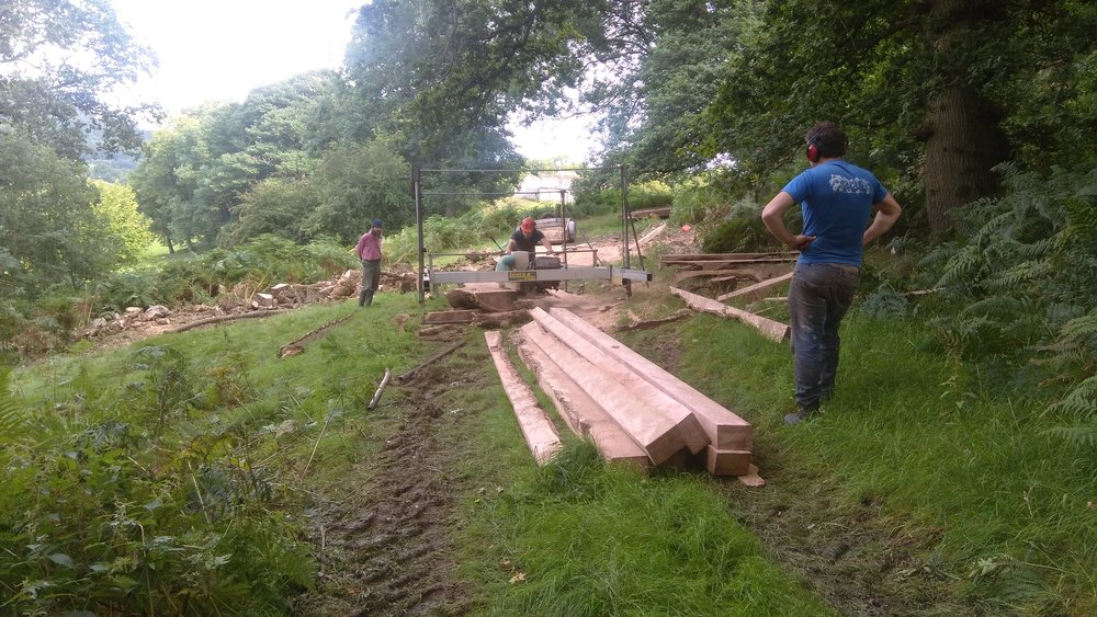 The Lucas Mill, sawing oak beams.