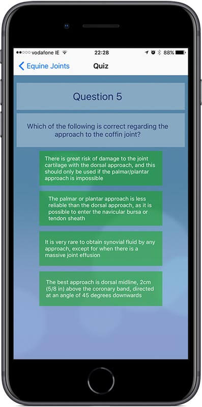 A quiz allow you to test your knowledge of topics covered in the App.