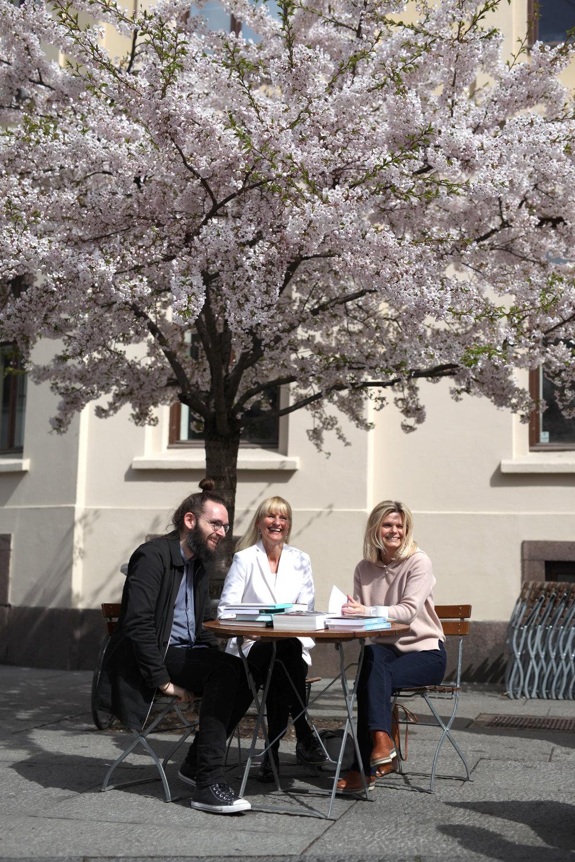 Her er våre redaktører for samfunnsvitenskap, fra venstre:Andreas Nybø, Kristin Eliassen og May Helene Solberg.  Foto: Eigil Korsager