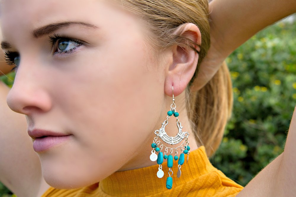 INDAH Blue Gypsy Earrings Modeled