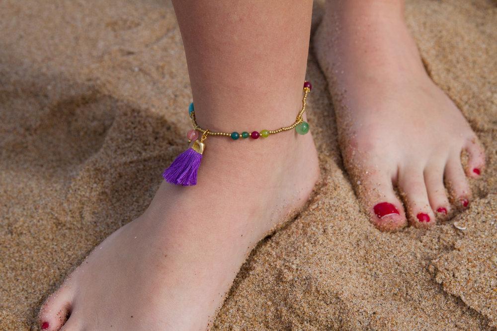 INDAH Tassel Anklet Modeled