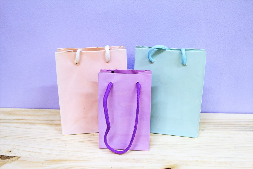 Plain Colored Bags - R 10 to R 15 - Available in baby pink, blue and purple.