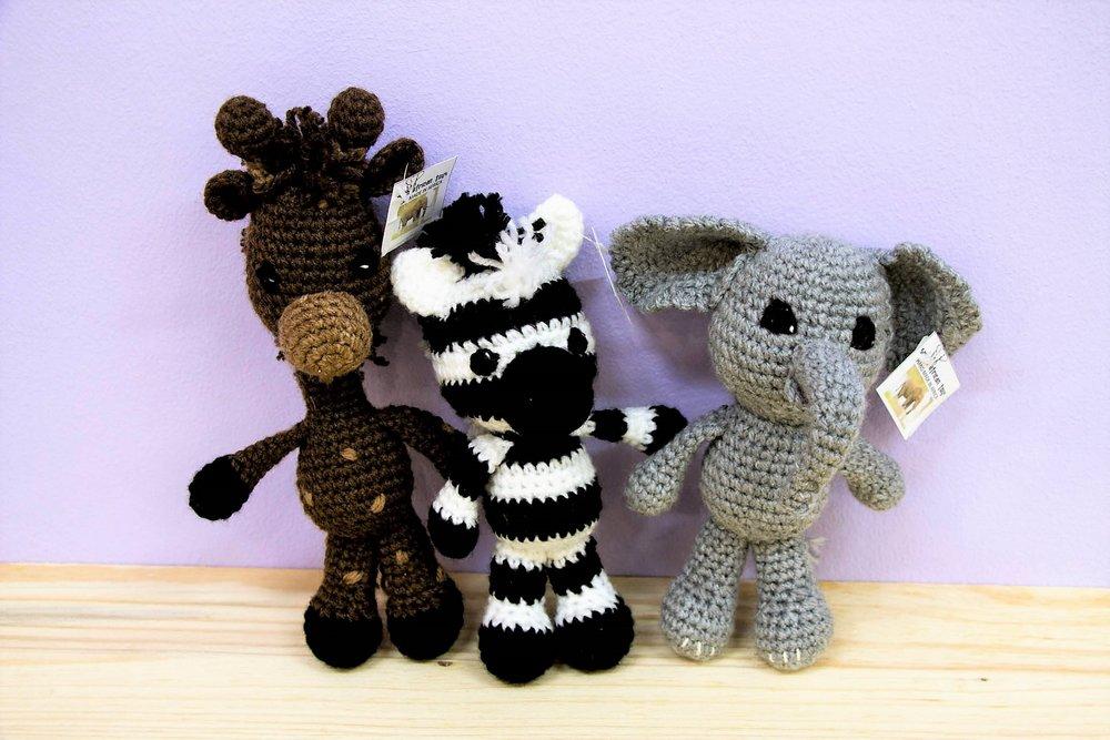 Crochet Animals - R 230 each - Giraffe, zebra & elephant.