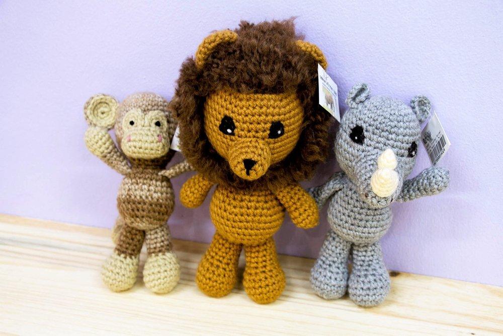 Crochet Animals - R 230 each - Monkey, lion & rhino.