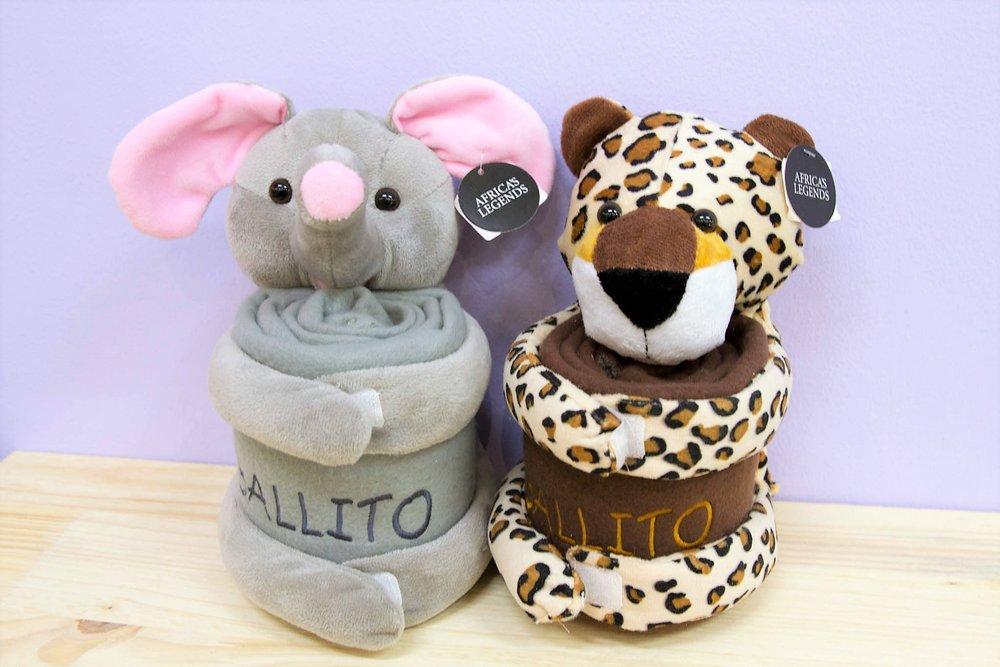 Ballito Blanket Toys - R 230 each - Elephant & Cheetah designs. Elephant sold out.