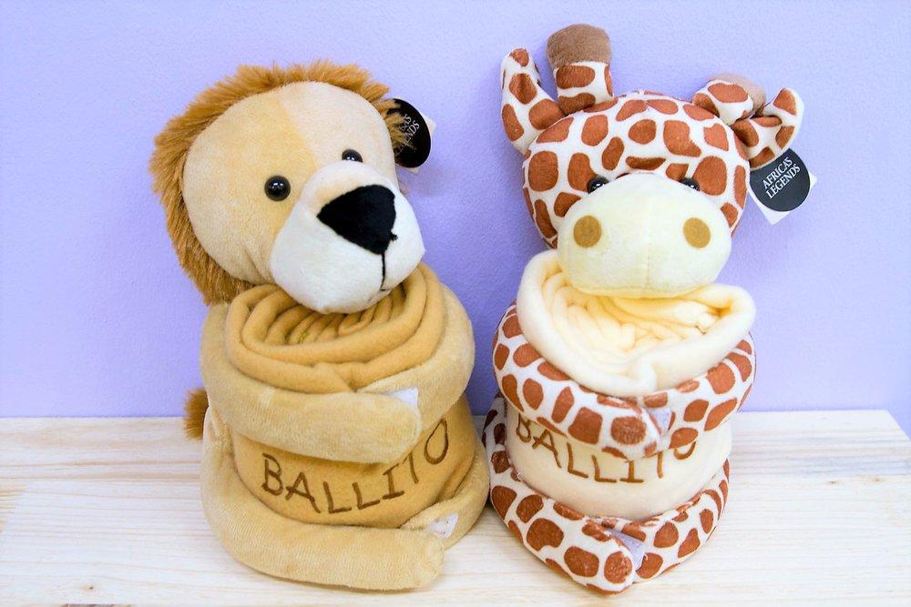 Ballito Blanket Toys - R 230 each - Lion & Giraffe designs.