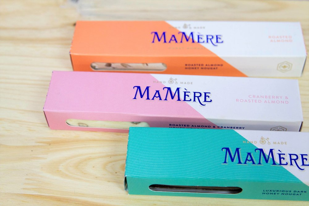 100g Mamere Nougat Bars - R 50 each - Dark Chocolate, Cranberry & Almond, Salted Macadamia & Roasted Almond.