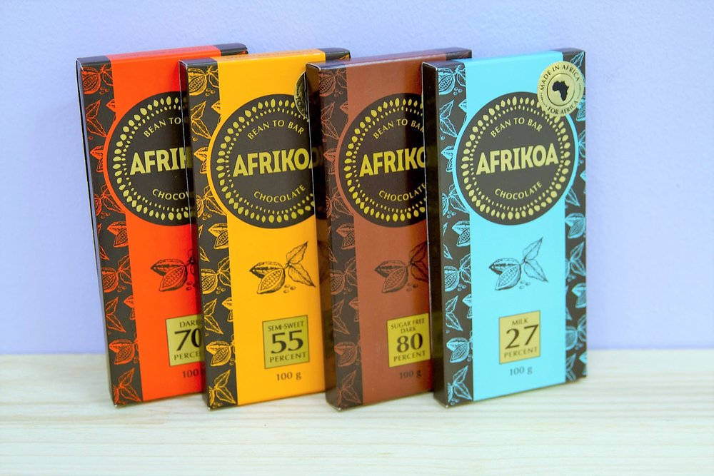 Afrikoa Chocolate Bars - R 40 to R 45 - 27% milk chocolate, 55% semi sweet, 70% dark chocolate & 80% sugar free chocolate. 80% Currently Sold Out.