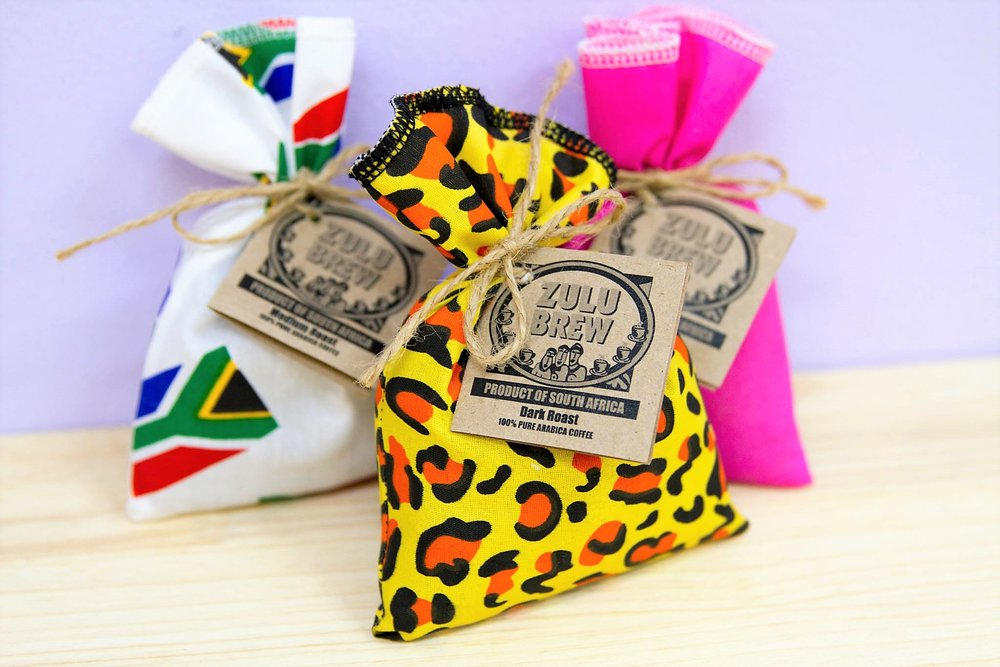 100g Zulu Brew Coffee Bags - R 65 each - Available in a medium roast, dark roast and select roast as well as an espresso version - ground coffee only.
