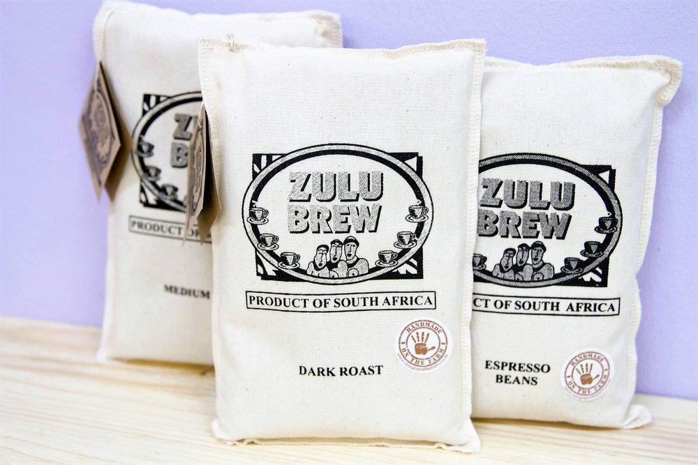 250g Zulu Brew Coffee Bags - R 85 each - Medium roast, dark roast and select roast as well as an espresso version. Both coffee beans & ground coffee available.