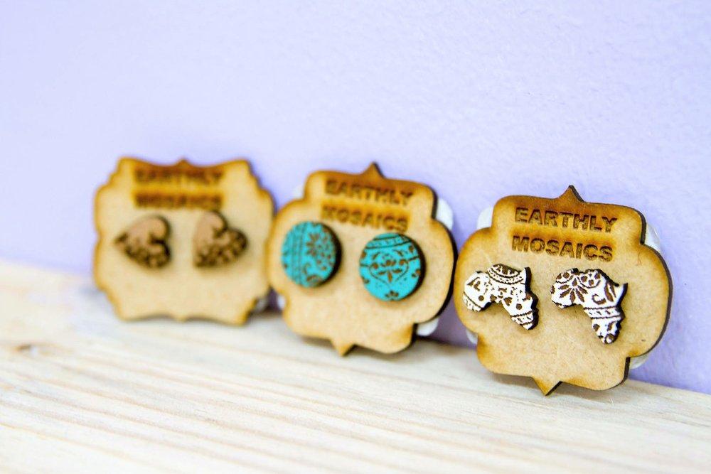 Wooden Charm Earrings