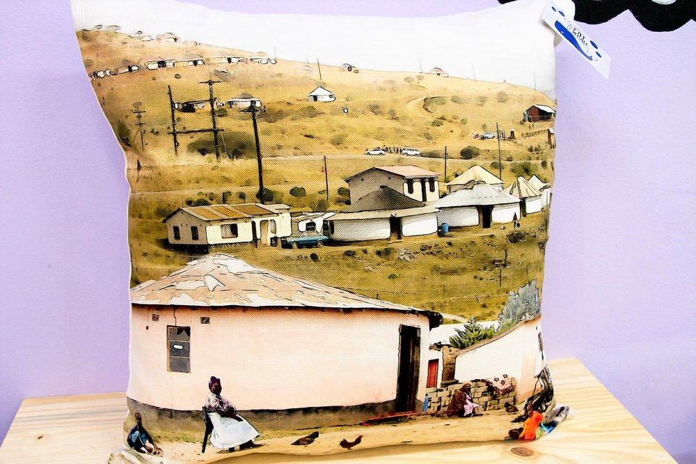 Rural Scene Cushion Cover - R 365 - Square - Inner Sold Separately.