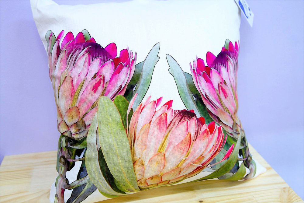 Protea Trio Cushion Cover - R 365 - Square - Inner Sold Separately. Currently Sold Out.