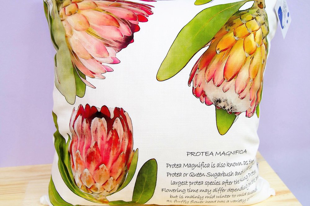 Protea Description Cushion Cover - R 365 - Square - Inner Sold Separately. Currently Sold Out.