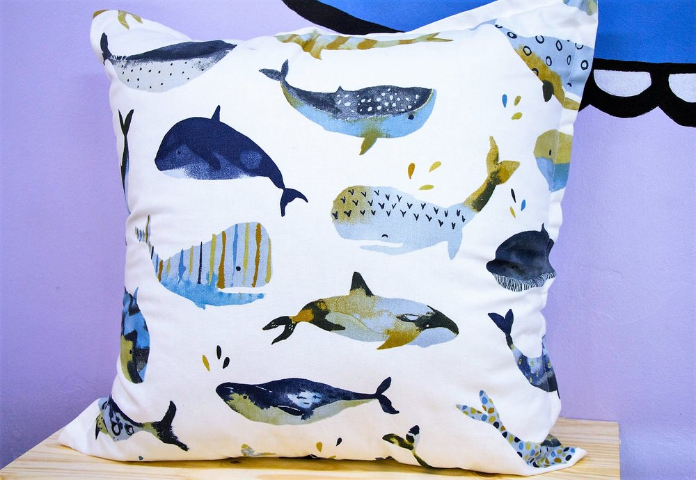 Whale Cushion - R 399 - Sold with the cover & inner. Currently Sold Out.