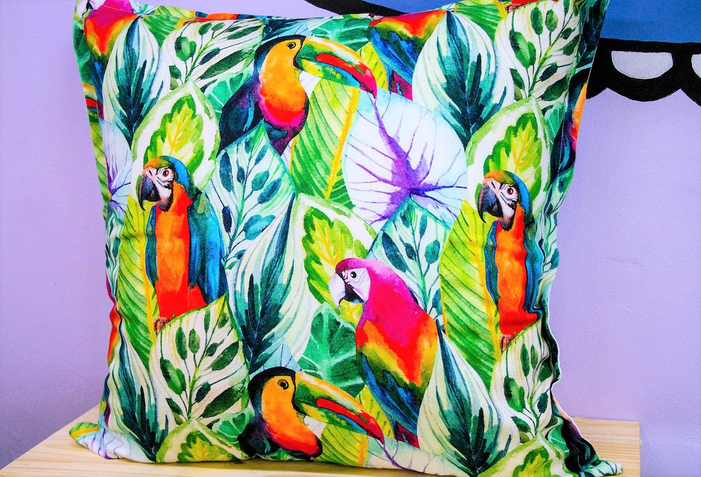 Botanical Parrot Cushion - R 399 - Sold with the cover & inner.