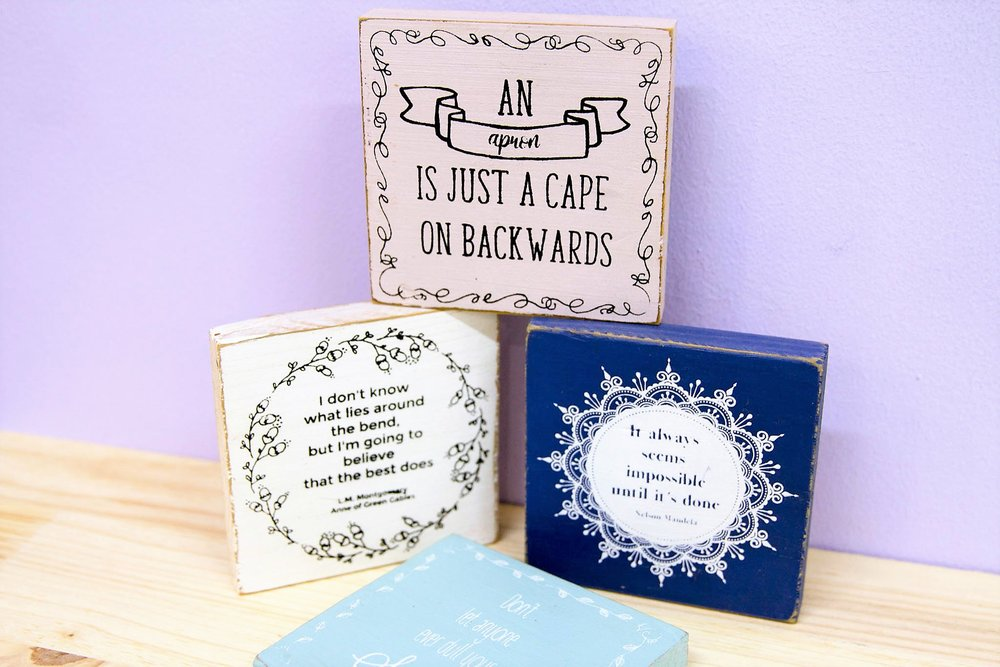 Wooden Decor Plaques - R 90 each - Various quotes / designs available. Please inquire.