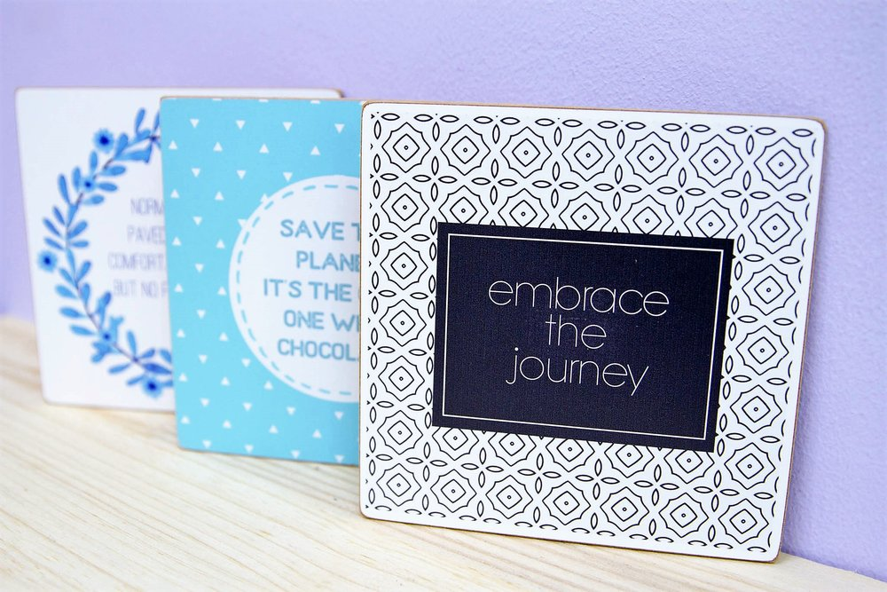Square Wall Plaques - R 45 each - Comes with double-sided tape on the back.