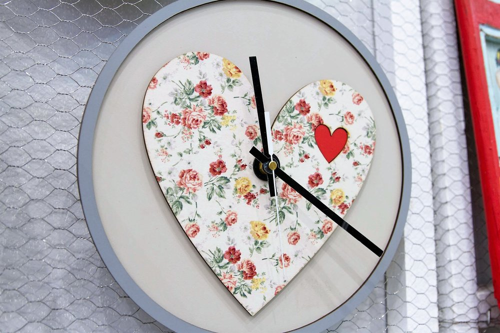 Wooden Heart Clock - R 300 - Also available in an Africa design.