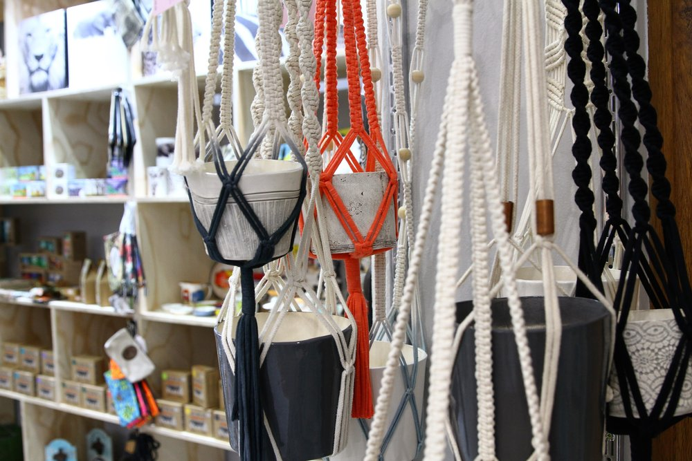 Macrame Pot Holders - R 655 to R 870 - Different sizes and colors available. Comes with the ceramic pot.