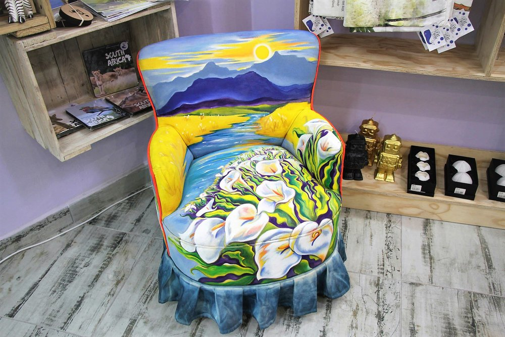 Lilly Hand Painted Chair - R 6700 - A once-off piece hand done by a local artist.