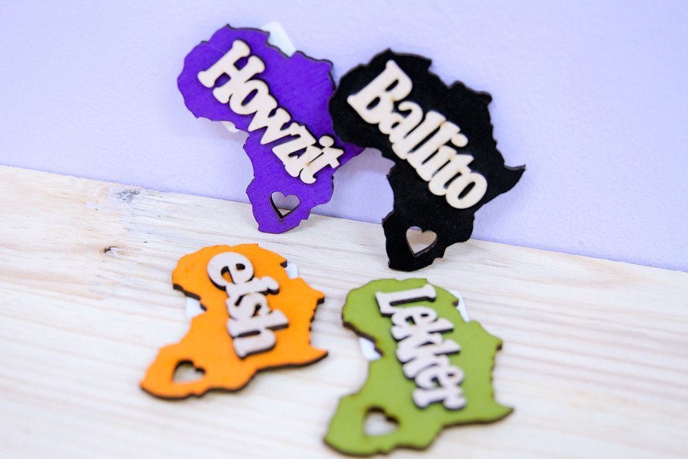 Africa Word Magnets - R 85 each - 4 words available as pictured.
