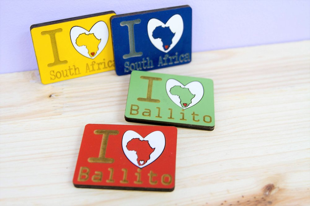 Heart Ballito & SA Magnets - R 60 each - 4 colors available as pictured.