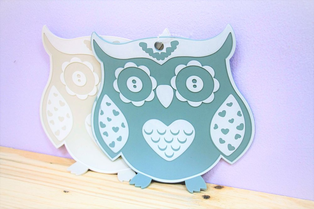 Owl Pot Holders - R 70 each - Available in blue and grey.