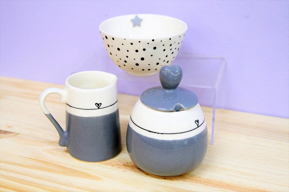 Milk Jugs, Sugar Pots and Bowls - R 120 to R 200 - Designs as pictured.