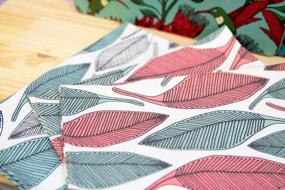 Various Tea Towels - R 170 each - Leaf designs in blue and white or pink and blue.