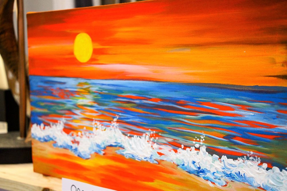 Beach Sunset Painting - R 595 - Once-off original done by a local artist.