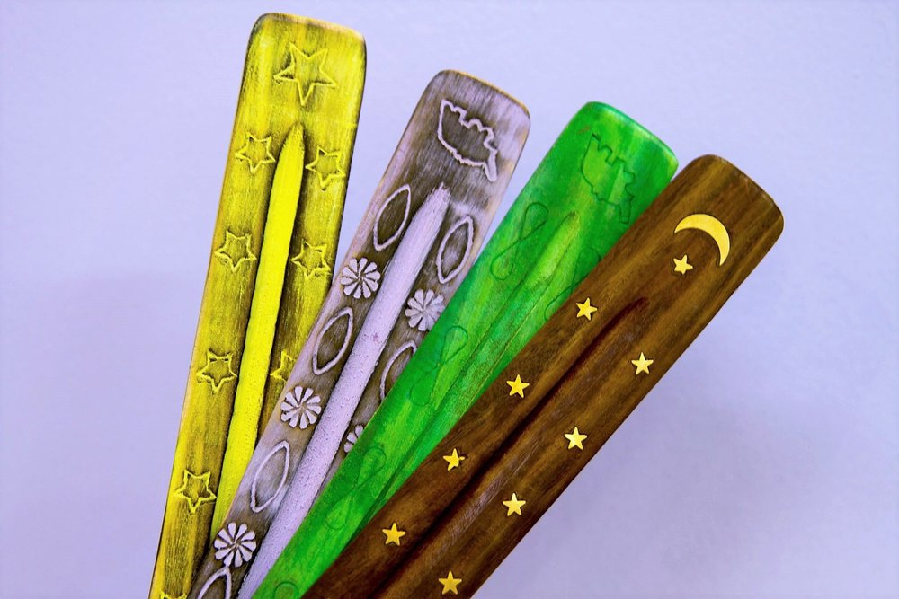 Wooden Incense Holders - R 20 each - Colorful wooden holders - lots of variety.