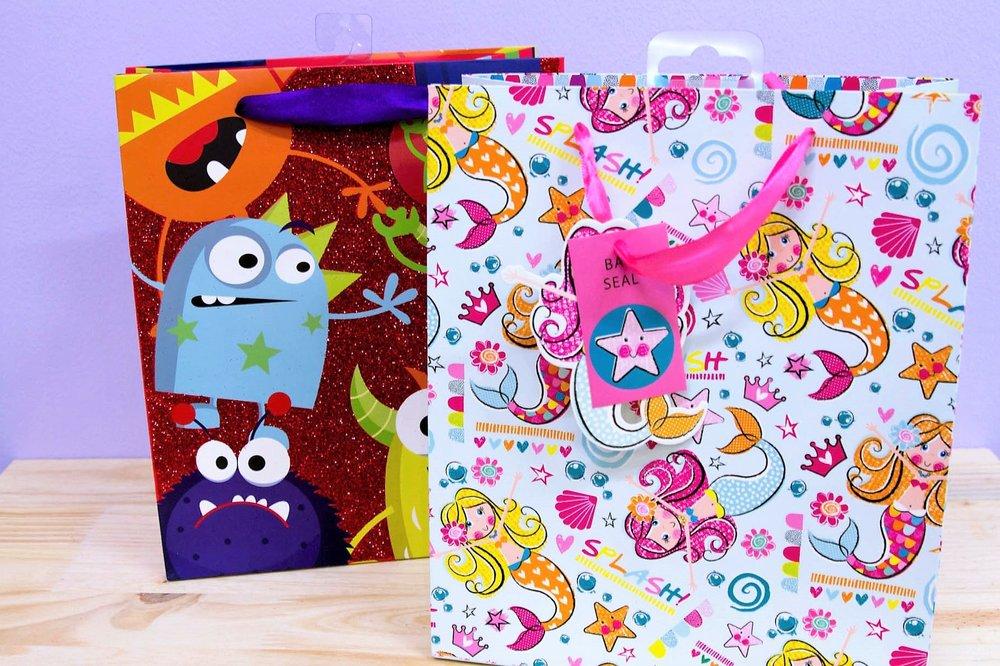 Kiddies Gift Bags - R 35 each - Glitter monster and mermaid designs.