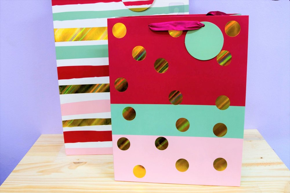 Multicolored Gift Bags - R 40 to R 45 - Spotted and striped designs in medium and large sizes.