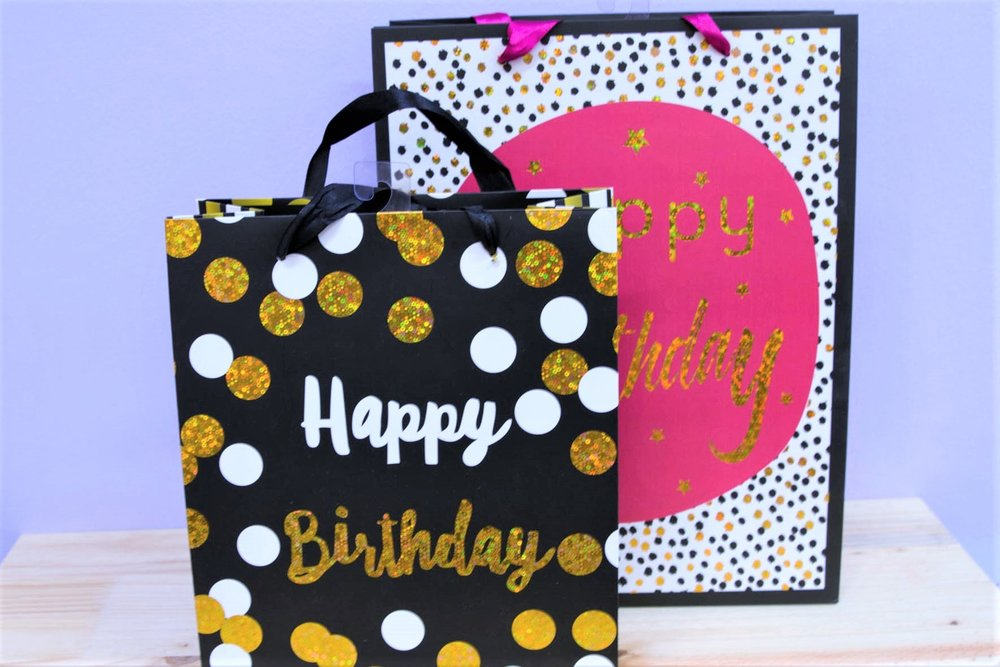 Birthday Gift Bags - R 35 to R 40 - Medium and large sizes available.