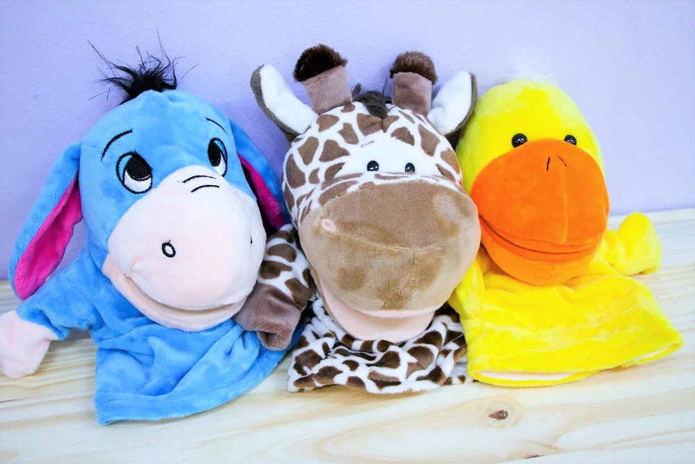 Plush Hand Puppets - R 95 each - 10 different designs - please inquire.