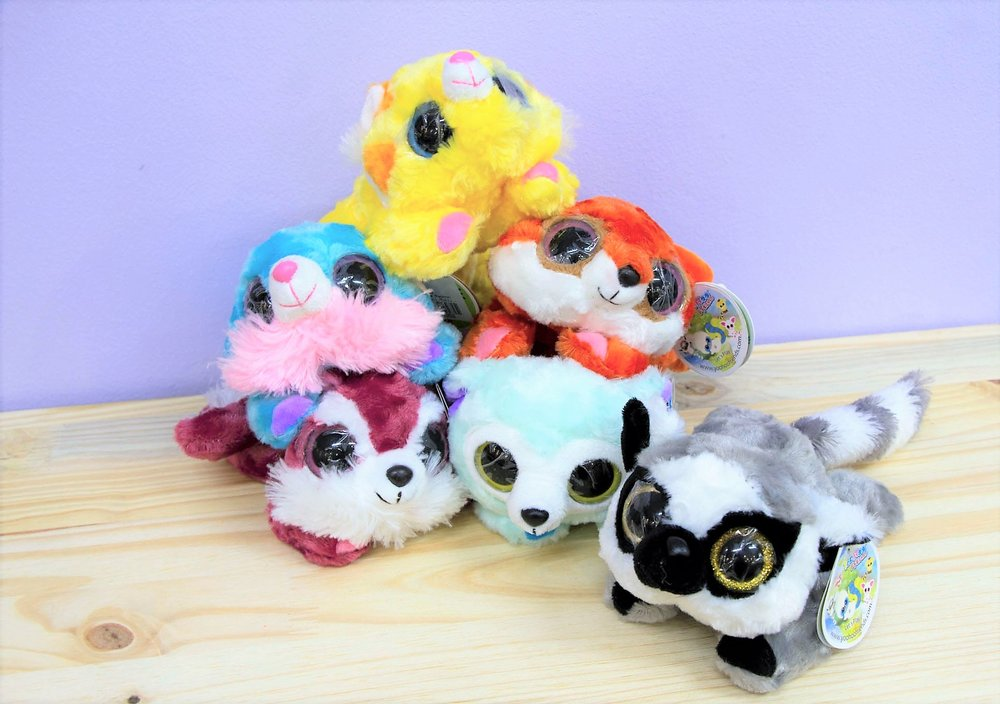 Raccoon Plush Toys - R 75 each - 6 different colors as pictured.