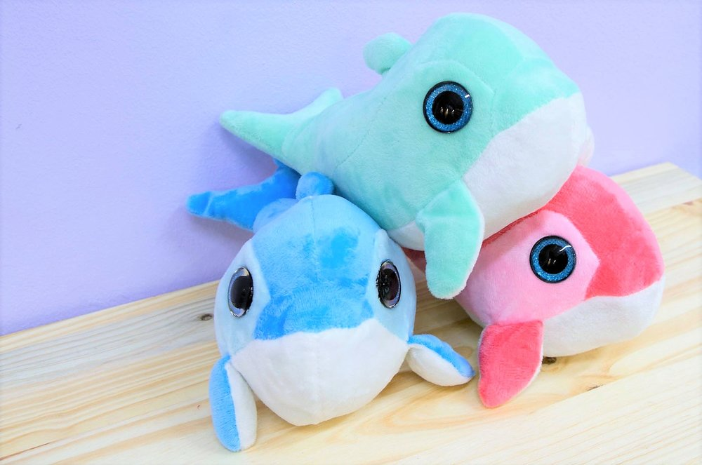 Dolphin Plush Toys - R 65 each - Available in blue, pink and sea green.