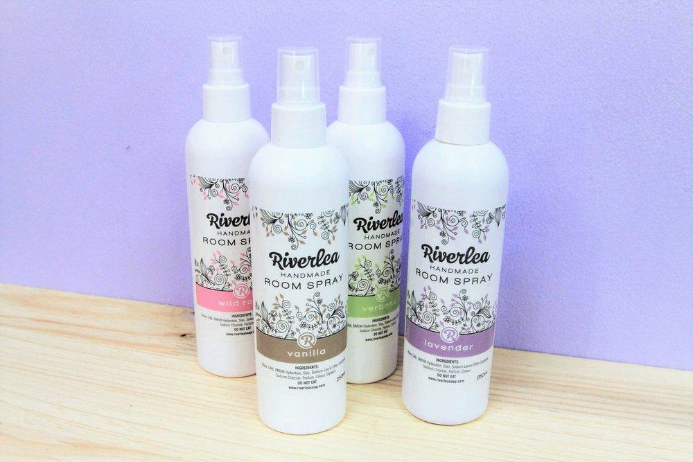 Scented Room Sprays - R 65 each - Vanilla, Lavender, Wild Rose & Lemongrass.
