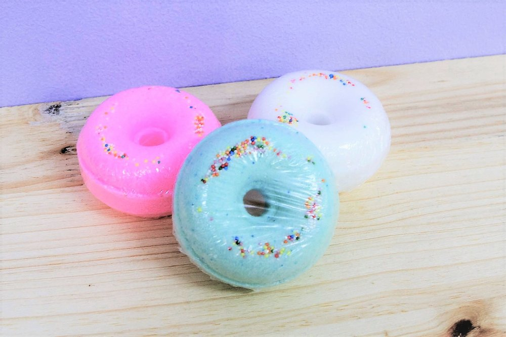 Donut Bath Bombs - R 45 each - Available in 3 colors as pictured.