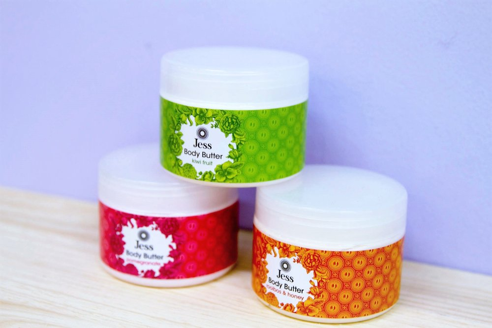 Jess Body Butter - R 195 each - Rooibos & Honey, Kiwi Fruit and Pomegranate.