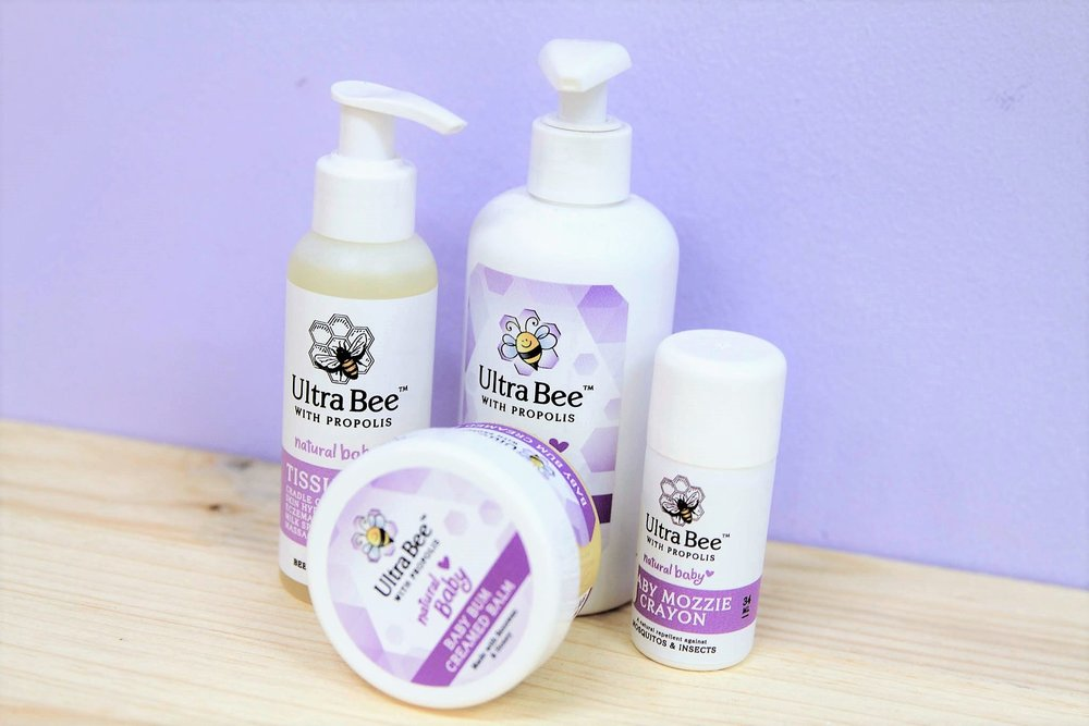 Ultra Bee Baby Range - R 60 to R 200 - Mozzie stick, baby balm, tissue oil, baby wash and more.