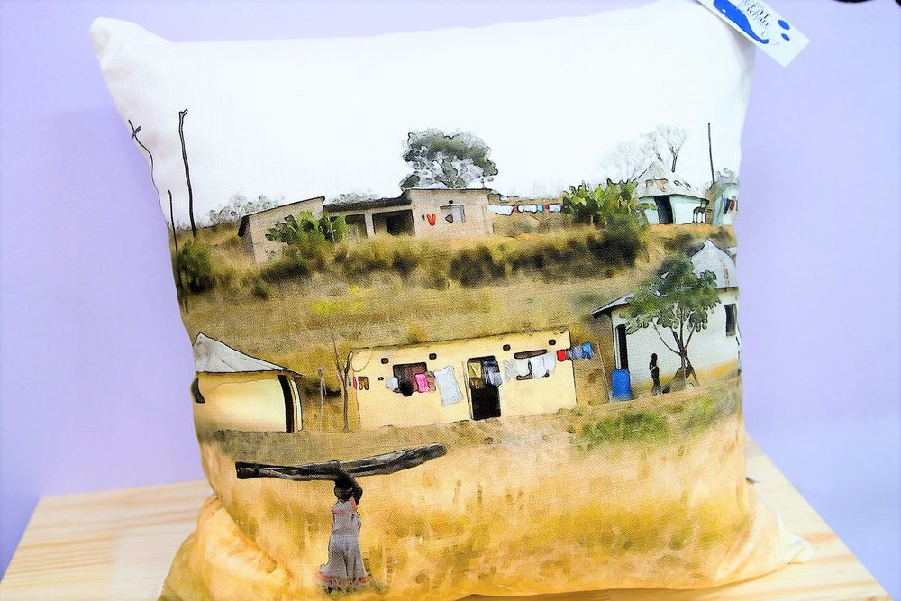 Rural Scene II Cushion Cover - R 365 - Square - Inner Sold Separately. Currently Sold Out.