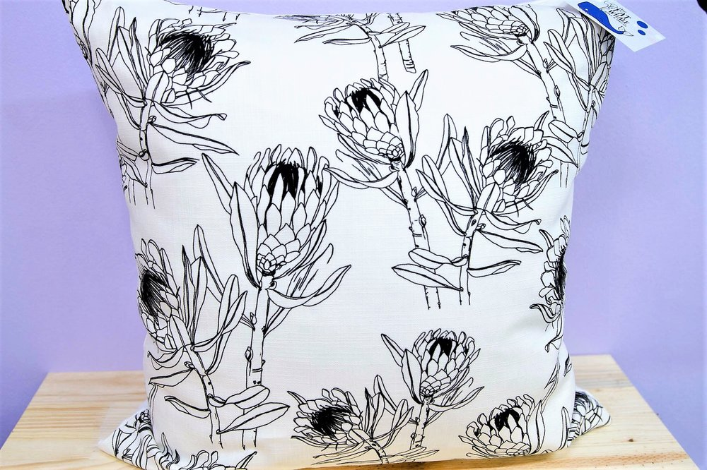 Protea Outline Cushion Cover - R 365 - Square - Inner Sold Separately.
