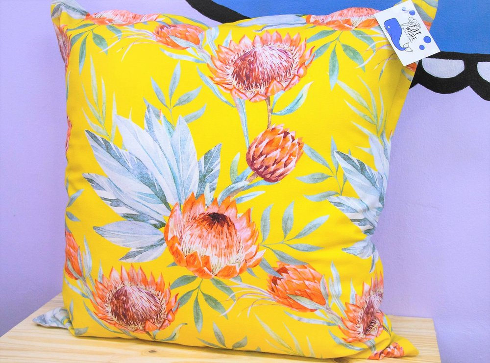 Yellow Protea Cushion - R 399 - Sold with the cover & inner.